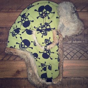 Skull Design Fur Snowboard Hat Green